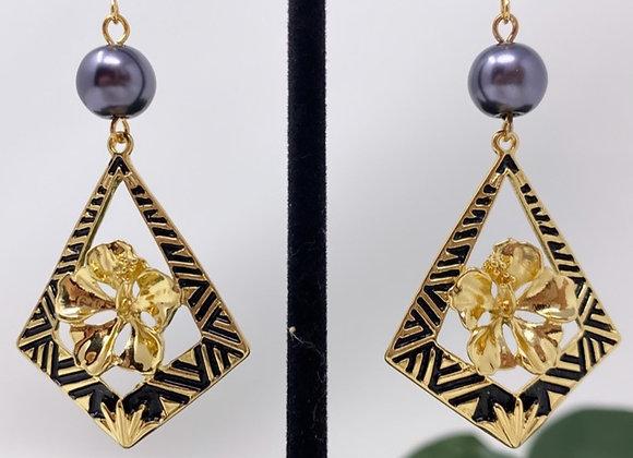Hawaiian Tribal Diamond Hibiscus Earrings