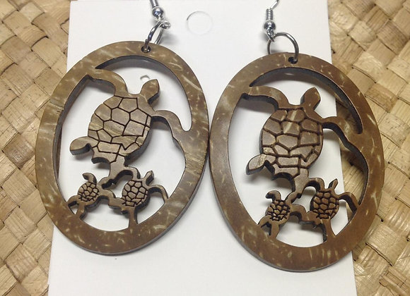 Turtle Family Carved Coconut Shell Earrings
