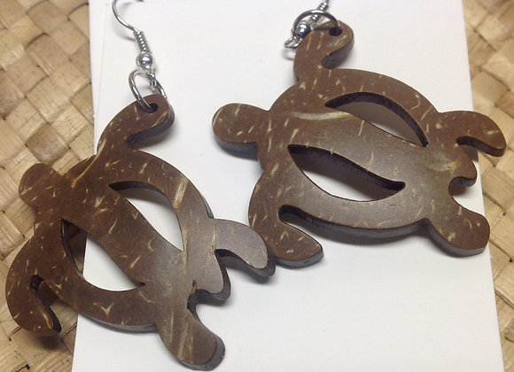 Medium Carved Coconut Shell Turtle Earrings