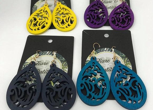 Tribal Teardrop Wooden Earrings