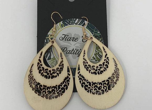 Pear-shaped Wooden Earrings
