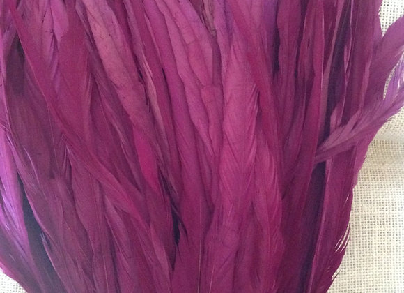 Dyed Purple Rooster Tail Feathers