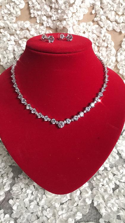 EVETE Swarovski Crystal CZ Earring & Necklace Set