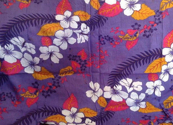 Purple Sarong with White Hibiscus flowers & Pink/Orange Leaves