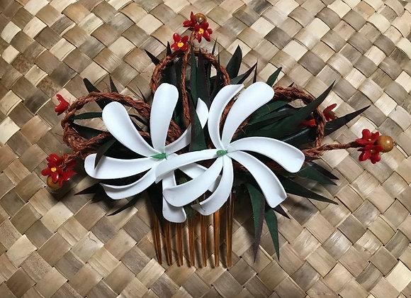 Double Tiare & Coconut Sennit Flower Comb