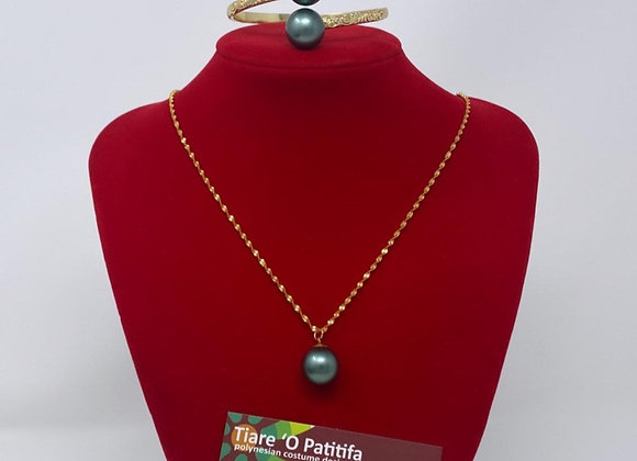 14kgf Hawaiian Heirloom South Sea Shell Pearl Bracelet & Necklace set