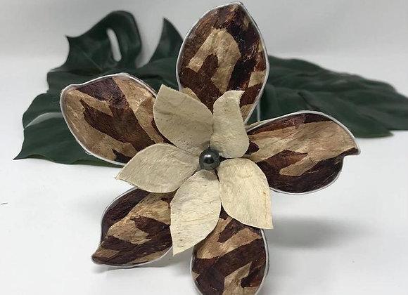 Authentic Tapa Cloth Double Flower Sei /Hair Pick