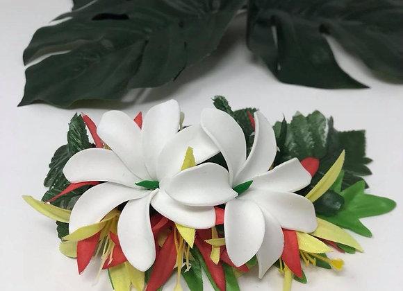 Large Hawaiian Double Tiare Flower Hair Clip