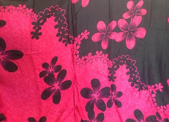 Pink & Black Hawaiian Floral Print Sarong
