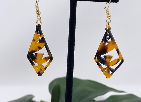 Faux Turtle Shell Tribal Diamond Earrings