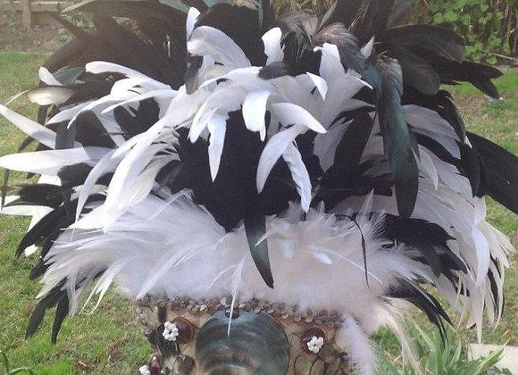 Black & White Feather & Shell headpiece (AHOHAKO - Storm)