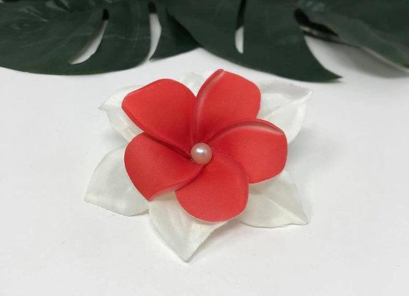 Hawaiian Double Plumeria Flower hair clip