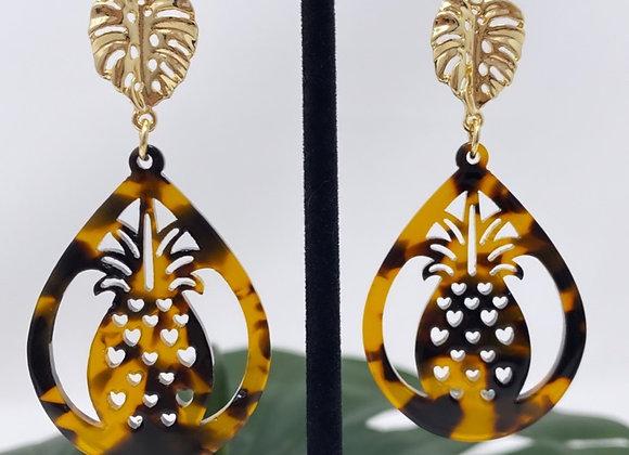 Faux Turtle Shell Pineapple Acrylic Earrings