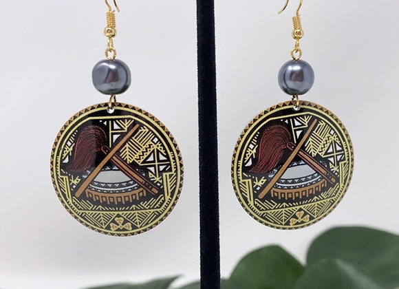 Samoan Tanoa/Fue Tribal Earrings