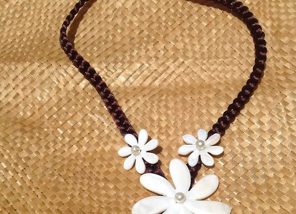 White Mother Of Pearl Shell Tiare Flower Necklace