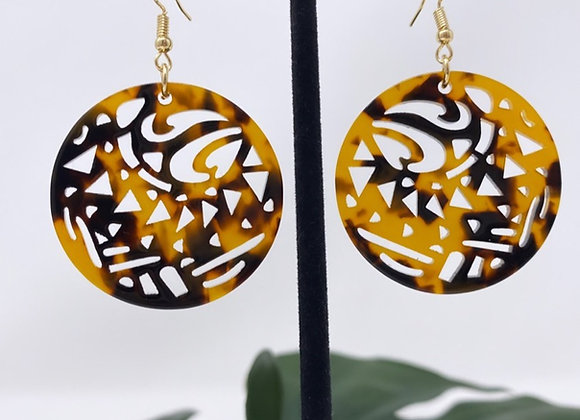 Faux Turtle Shell Tribal Circle Earrings