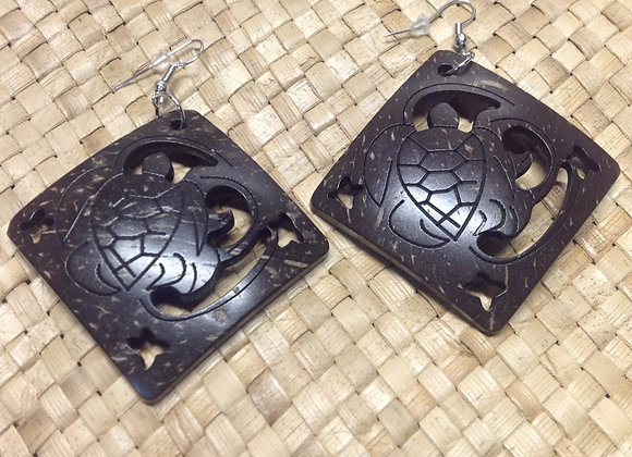 Carved Coconut Shell Diamond Shaped Turtle Earrings