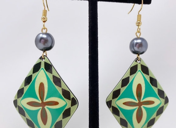 Triangle Tribal Tropical Earrings