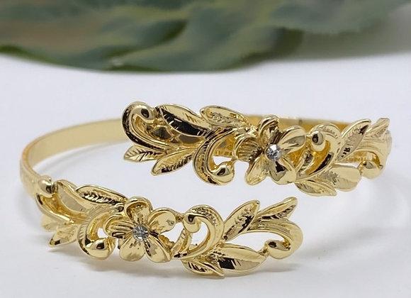 Hawaiian Gold Plated Double Plumeria Bracelet