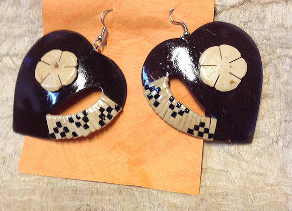 Large Heart Shaped Coconut Shells Earrings