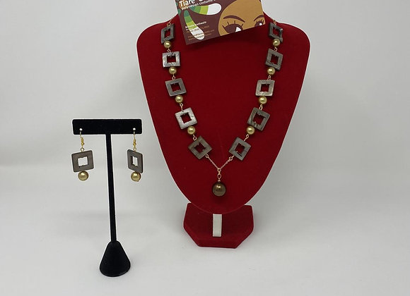 14kgf Shell Pearl and MOP Necklace & Earring Set