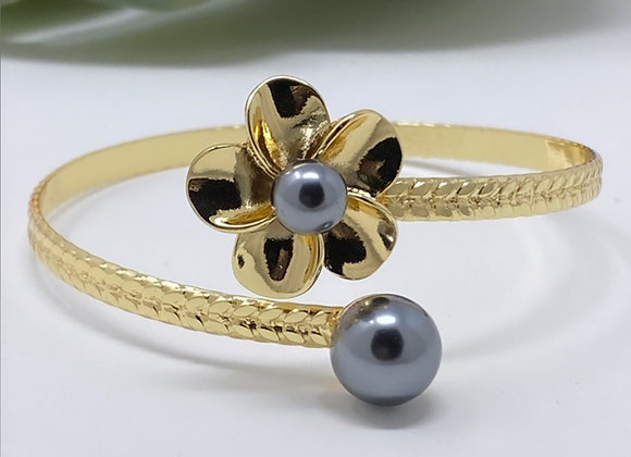 Hawaiian Gold Plated Double Pearl Flower Bracelet