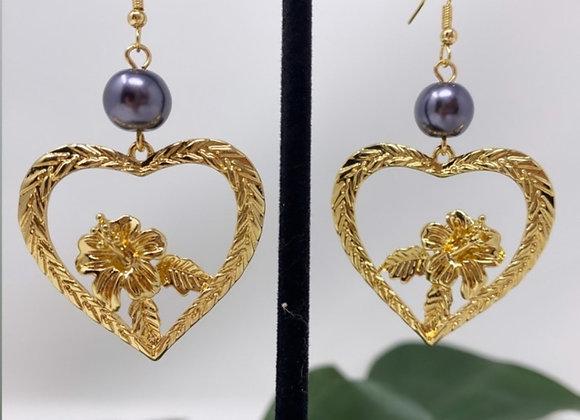 Hawaiian Hibiscus Love, Halo Earrings