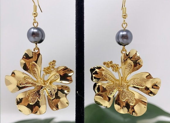 Hawaiian Large Hibiscus Earrings