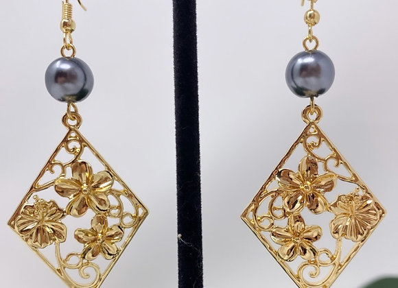 Hawaiian Plumeria Vine Diamond Earrings