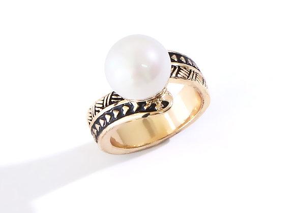 Hawaiian Heirloom Gold Plated Tribal Pearl Ring