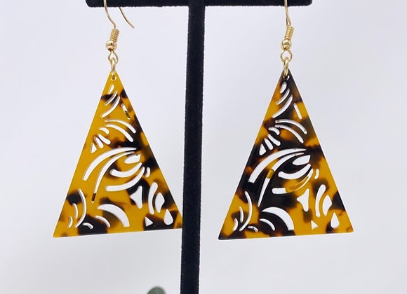 Faux Turtle Shell Pyramid Earrings