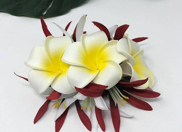 Hawaiian Triple Plumeria Flower Hair Clip