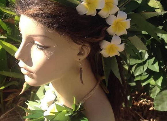 Ti leaf & Plumeria Flower Neckpiece & Headpiece Set