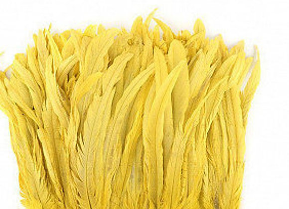 "12-14"" Yellow Rooster Coque Tails Bleach Dyed Feathers"