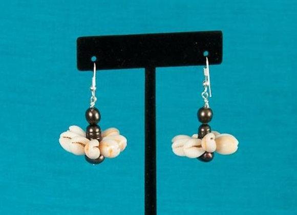 Fresh Water Pearl & Cowrie Rosette Shell Earrings