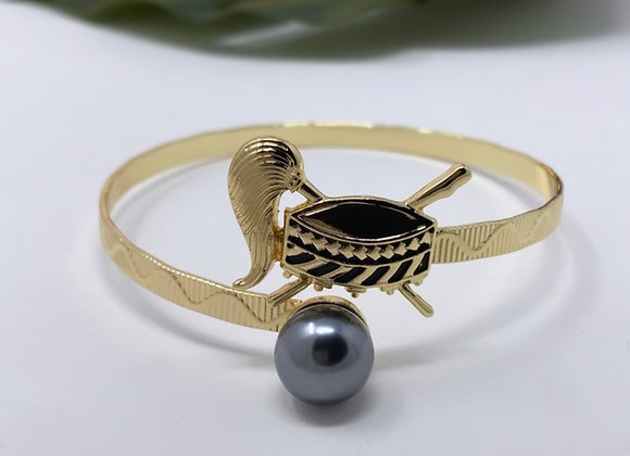 Gold Plated Single Pearl Tanoa/Fue Samoan Kava Bowl Bracelet