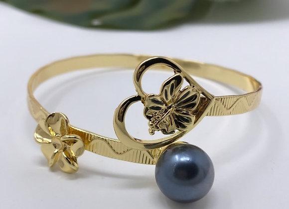 Hawaiian Gold Plated Single Pearl Plumeria Heart Bracelet