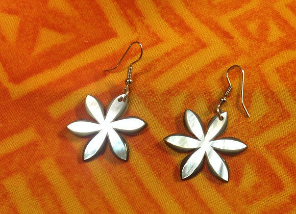 Mother Of Pearl Shell Tiare Earrings