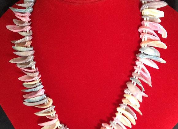 Pastel Rainbow Seashell Strand Necklace