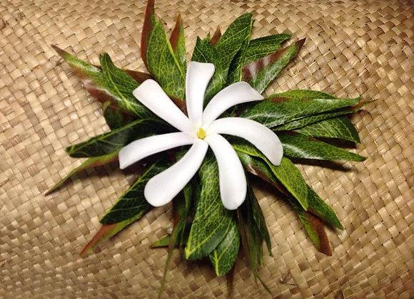 Silk Leaf & Tiare Flower Clip