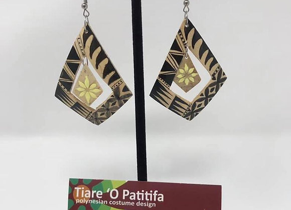 Authentic Hand Painted Coconut Shell Diamond Earrings.