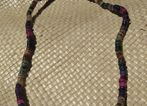 Multi Color Sea Shell Disk Necklace