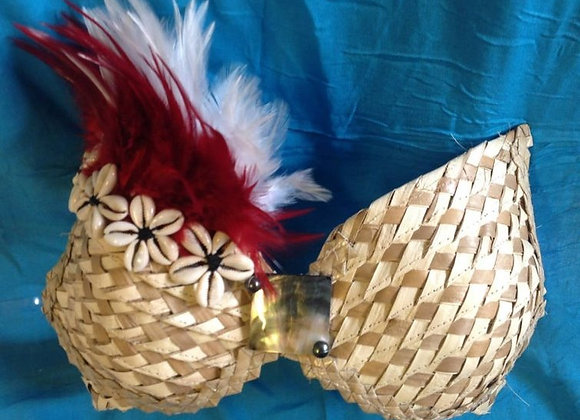 Red & White Feather Bra with Weaved Palm Leaf and shells.