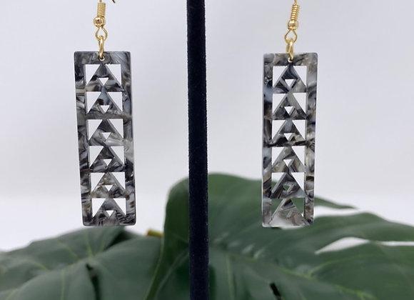Faux Turtle Shell Tribal Plank Earrings