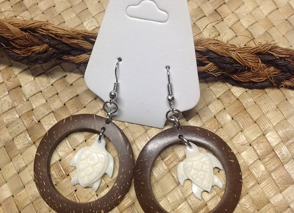 Coconut Shell & A Carved Bone Turtle Earrings