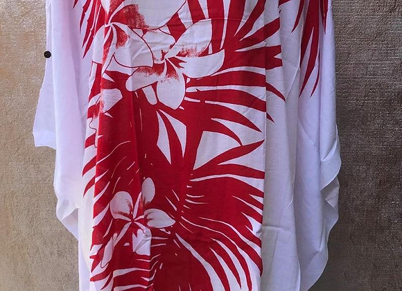 White & Red Poncho/Dress. ONE SIZE FITS All.