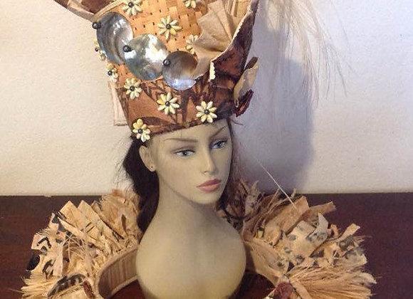 Tapa, Black Lip Shell, Rosette Headpiece & Hip Hei Set