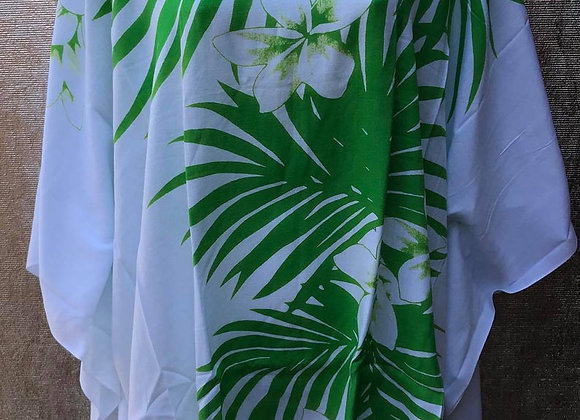 White & Green Palm Leaves Poncho Top/Dress