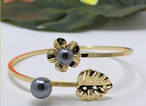 Hawaiian Gold Plated Double Pearl Flower Leaf Bracelet