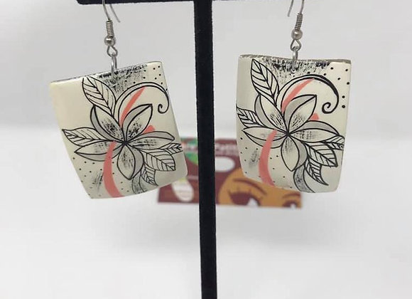 Hand Painted Coconut Rectangle Earrings.